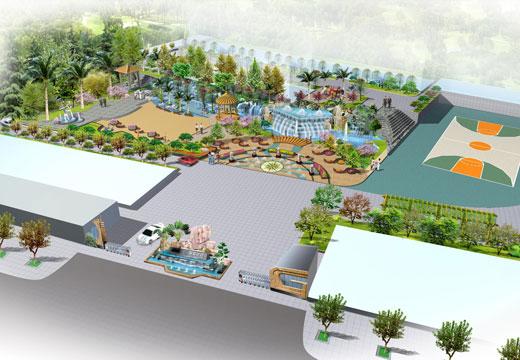 办公楼中庭绿化景观鸟瞰图