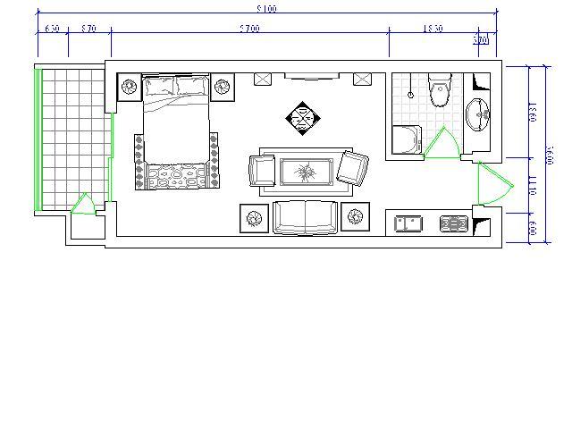 一室一厅家庭装修图纸-房屋装修-中国图纸交易网