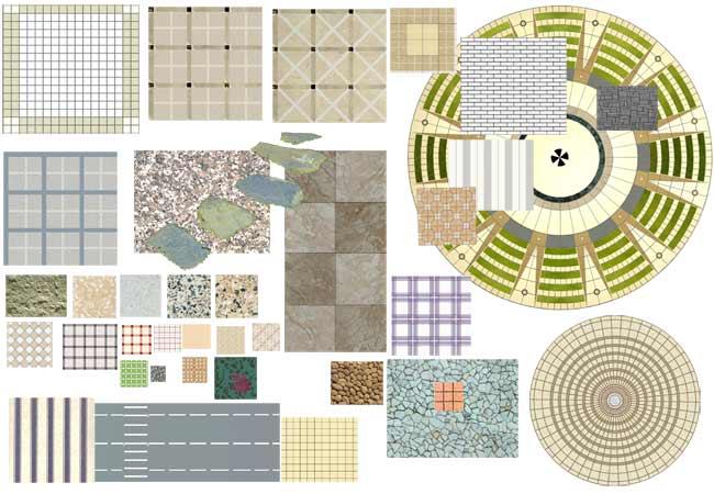 ps铺地,树木,亭子等平面素材(6张)