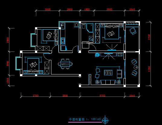 三室一厅装修方案-房屋装修-中国图纸交易网
