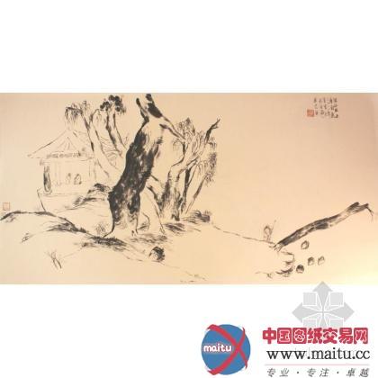 国画山水作品之中国园林图片