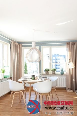 淡蓝色北欧风格公寓装修设计-室内设计-中国图纸交易网