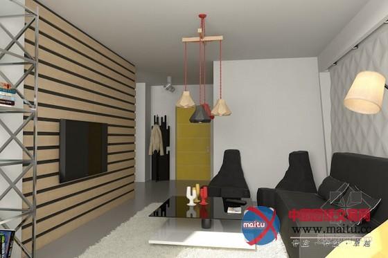 乌克兰妙趣横生单身公寓装修设计-室内设计-中国图纸
