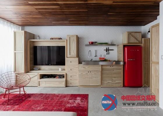 这间微型公寓位于巴西圣保罗,由本地建筑师Alan Chu设计。简约气焰的设计,Alan Chu操纵一系列安插紧凑的木盒子木架子成功的解决了所有收纳功能,将公寓的空间尽可能释放。 关头词:微型公寓 公寓设计