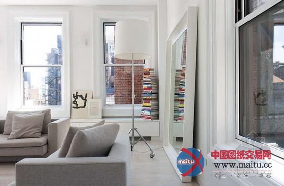 白色极简风格公寓装修设计-室内设计-中国图纸交易网