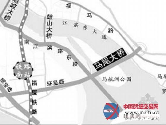 马尾大年夜桥工程南起仓山区环岛路,经福泉高速公路,南江滨路