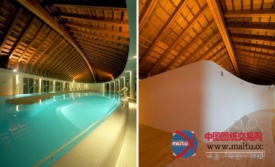 日本三头鲸鱼室内温泉中心设计 形式独特