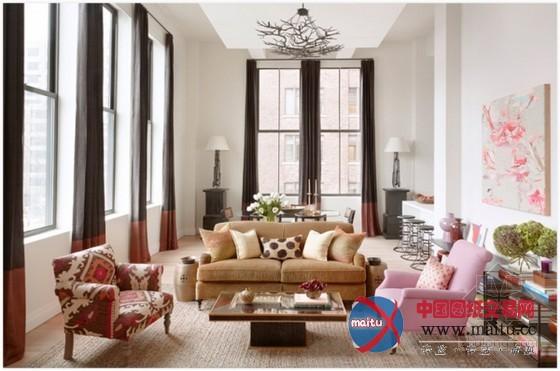 纽约曼哈顿区复式公寓 印花主题很温馨-室内设计-中国