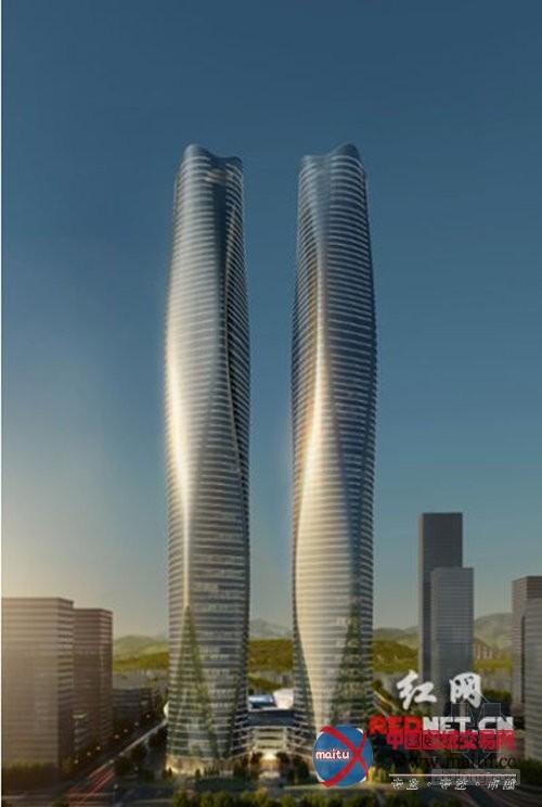 """广西首个""""双子塔""""地标建筑"""