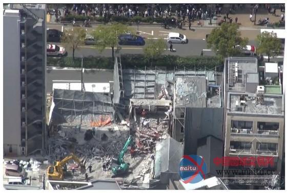 日本神户一高楼施工现场脚手架坍塌致2伤-房屋建筑