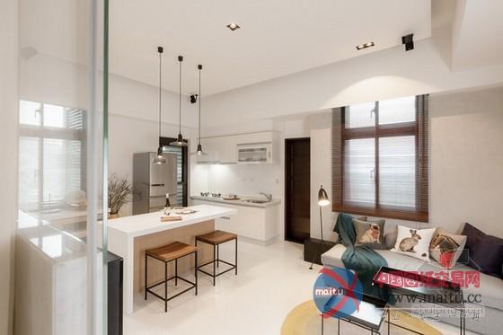 这是台湾小户型家居装修室内设计,设计师将隔断距离全数打通,在