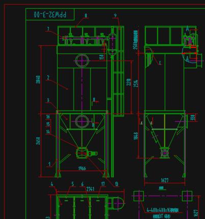 PPW32-3气箱脉冲袋式除尘器详图